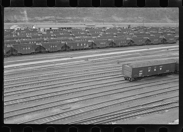 Coal cars in railroad yard at Williamson, West Virginia