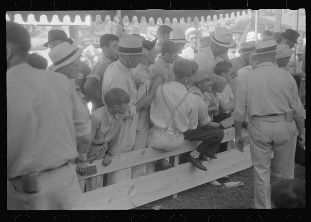 [Untitled photo, possibly related to: Spectators at county fair, central Ohio]