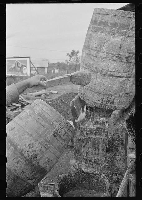 Barrels of the natural turpentine oleoresin, State Line, Mississippi