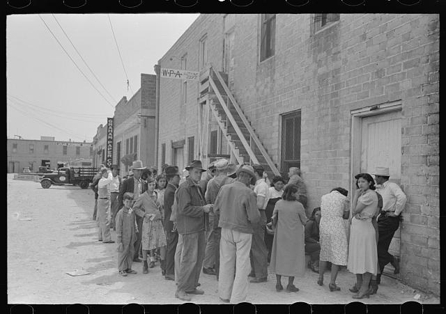 Crowd of people waiting at WPA clothing department, San Antonio, Texas