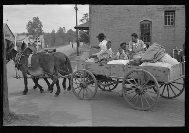 [Untitled photo, possibly related to: Negro farmer loading supplies into his wagon, Saturday afternoon, San Augustine, Texas]