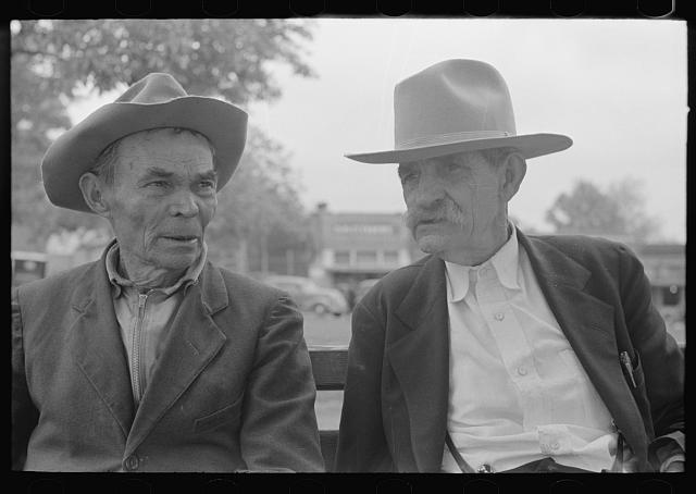 Old timers in front of courthouse, San Augustine, Texas