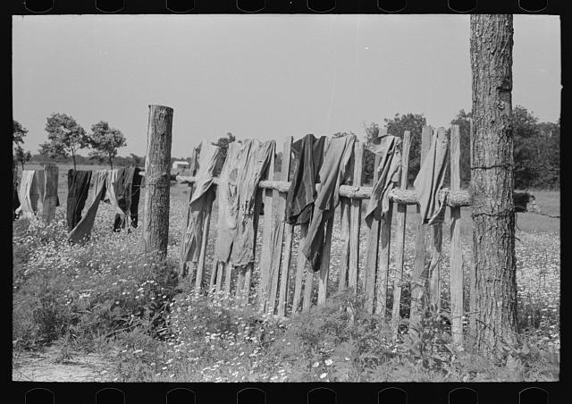Clothes of white agricultural day laborer's family drying on the fence, north of Sallisaw, Sequoyah County, Oklahoma