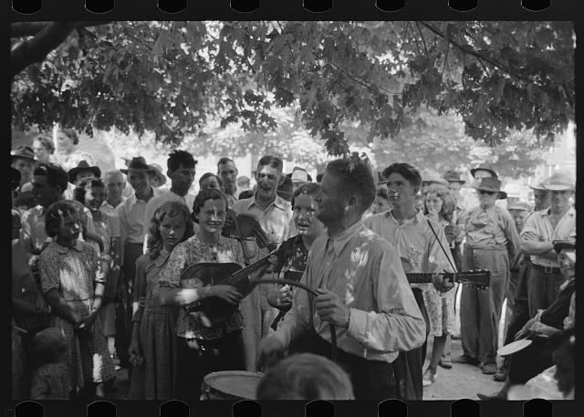 Revivalist rally under tree in square, Saturday afternoon, Tahlequah, Oklahoma