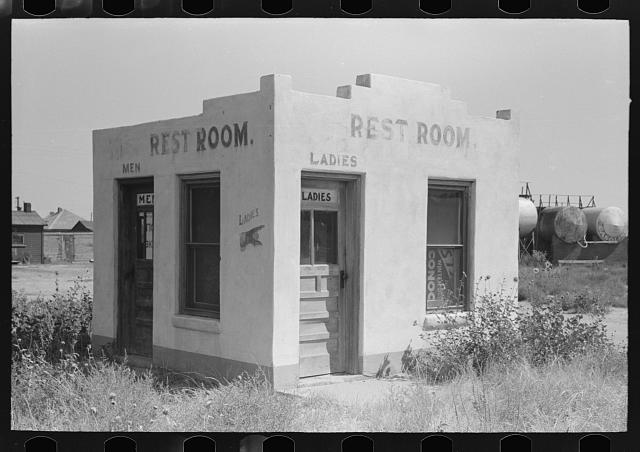 Unused community rest room in Forgan, Oklahoma, ghost dust town