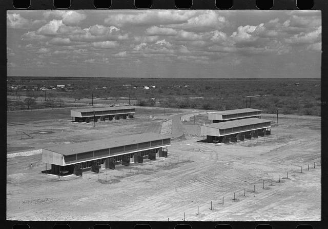 Multiple family units at the migratory labor camp, Sinton, Texas. These are for the use of agricultural laborers who will be permanent residents