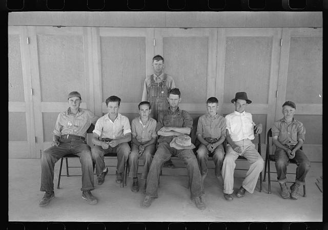 [Untitled photo, possibly related to: Baseball is popular at the migratory labor camp at Agua Fria, Arizona. These boys are on one of the teams]