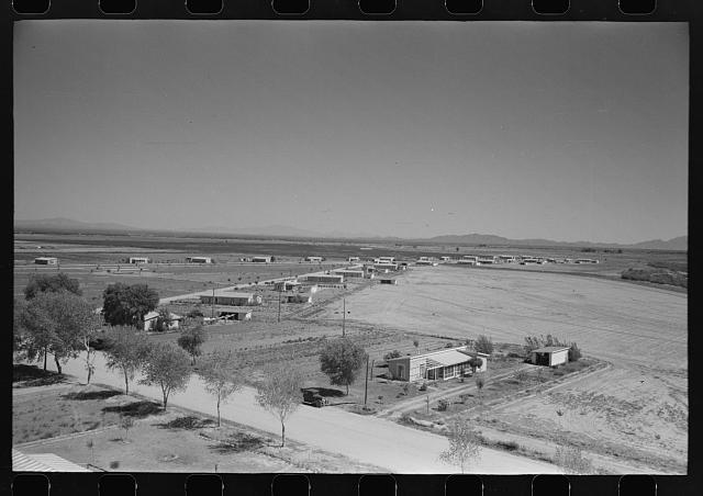 General view of the layout of houses at Casa Grande Valley Farms, Pinal County, Arizona