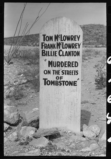 Tombstone in Boot Hill Cemetery, Tombstone, Arizona. In its heyday, the 1880s Tombstone had a reputation for lawlessness