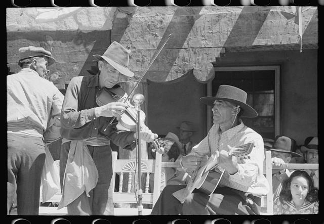 Spanish-American musicians playing at the fiesta at Taos, New Mexico