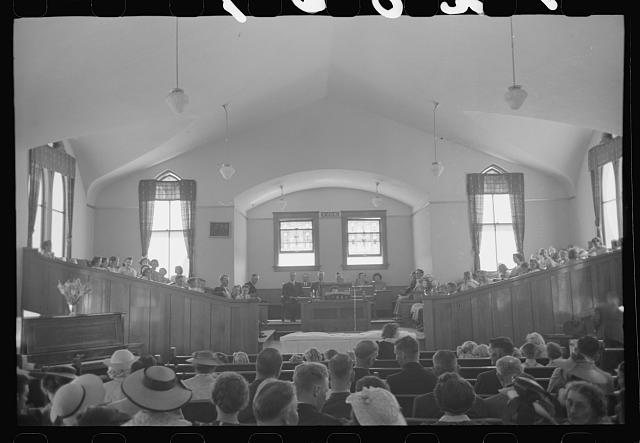 [Untitled photo, possibly related to: Mormon church on Sunday morning, Mendon, Utah]