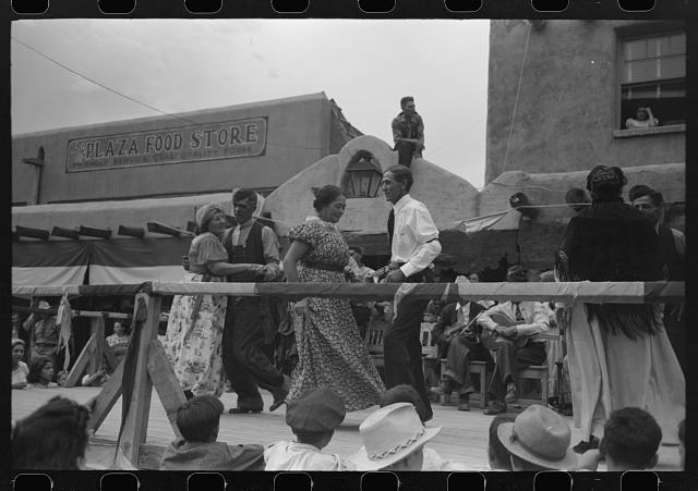 [Untitled photo, possibly related to: Crowd watching native Spanish-American dances at fiesta, Taos, New Mexico]