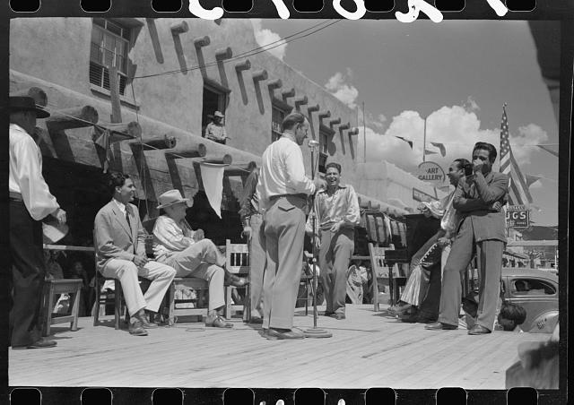 [Untitled photo, possibly related to: Spanish-American musicians at fiesta, Taos, New Mexico]