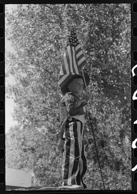 Boy on float in Fourth of July parade. Vale, Oregon