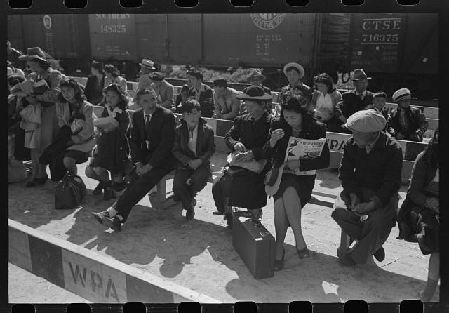 Santa Anita reception center, Los Angeles, California. The evacuation of Japanese and Japanese-Americans from West Coast areas under U.S. Army war emergency order. Japanese-Americans waiting to be registered