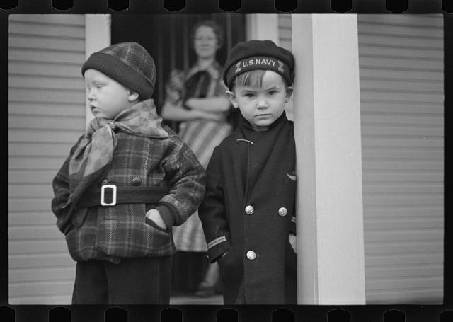 Children leaving nursery school, 2:30 p.m., Westmoreland Homesteads, Pennsylvania