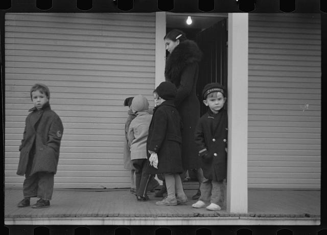 [Untitled photo, possibly related to: Children leaving nursery school, 2:30 p.m., Westmoreland Homesteads, Pennsylvania]