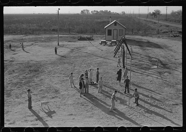 Recreational facilities for the children, Kern migrant camp, California