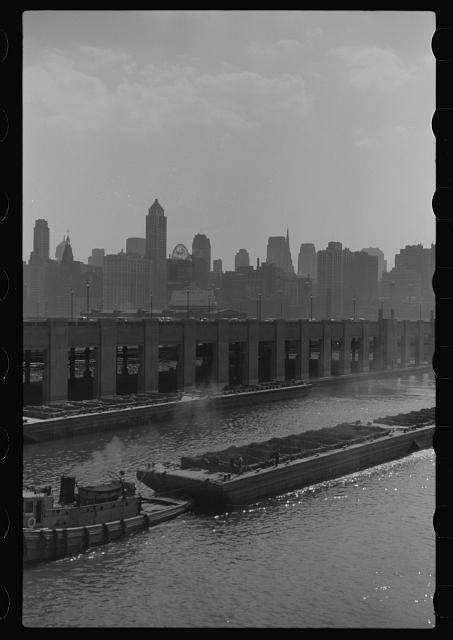 [Untitled photo, possibly related to: Coal barge in Chicago River, Chicago, Illinois]