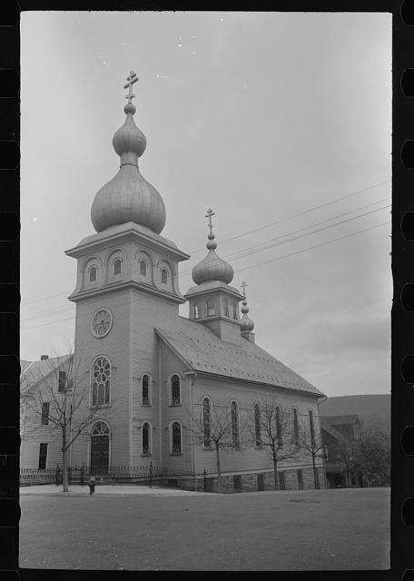 [St. Michael's Russian Orthodox Church, Mount Carmel,] Pennsylvania. A frame church building with a triple cross