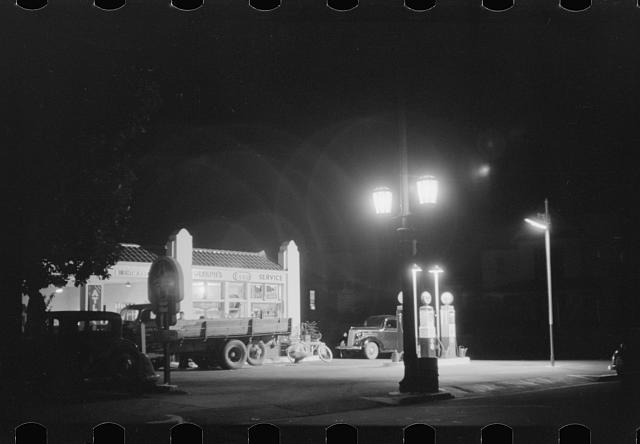 "[Untitled photo, possibly related to: An ""open all night"" gas station in Durham, North Carolina]"