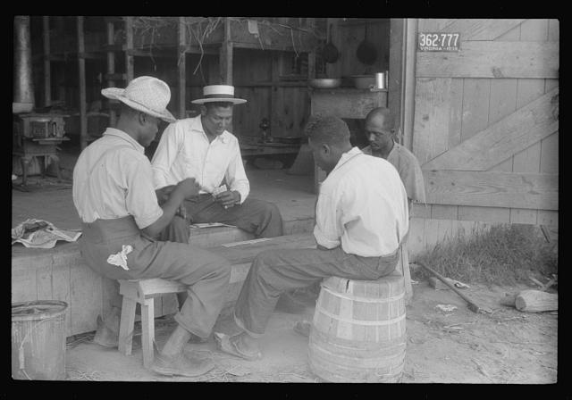Migratory agricultural workers at Picket's Landing, Virginia. Card games are frequent but money seldom used