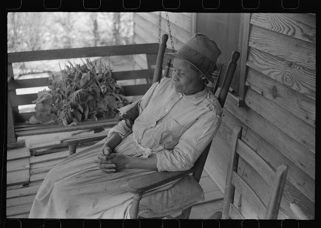 Mrs. L.A. Anderson, living in the Camp Croft area, who has come to help a neighbor move. Near Spartanburg, South Carolina
