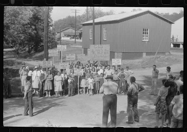 [Untitled photo, possibly related to: CIO pickets outside a mill in Greensboro pose for their picture. Greene County, Georgia]