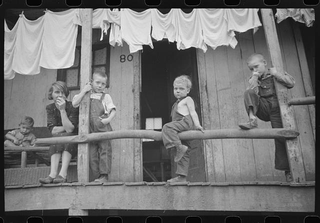 Coal miner's children and wife, Pursglove, West Virginia