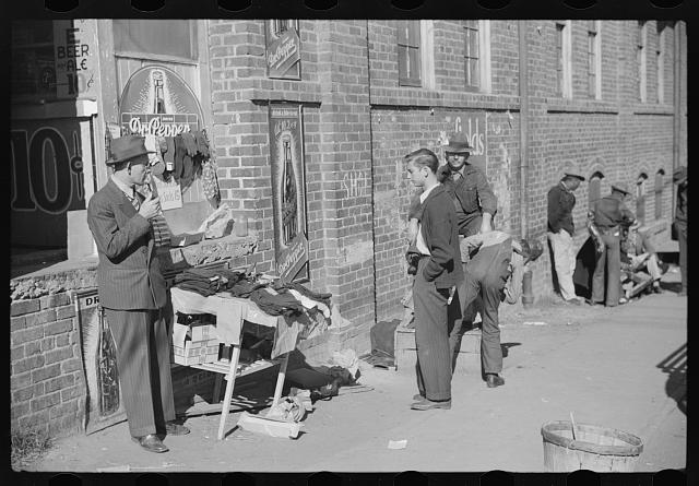 Selling socks and neckties outside tobacco warehouse, Durham, North Carolina