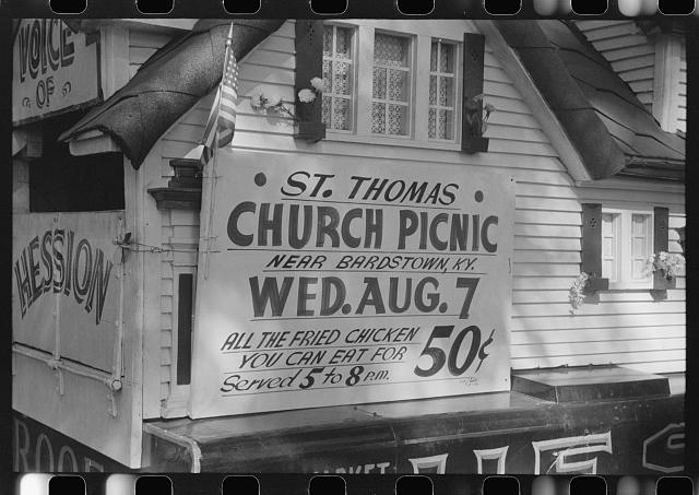 Poster advertising church picnic near Bardstown, Kentucky