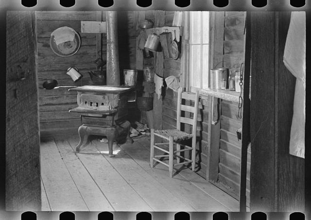 Kitchen in house of Floyd Burroughs, sharecropper, near Moundville, Hale County, Alabama