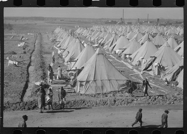 Flood refugee encampment at Forrest City, Arkansas