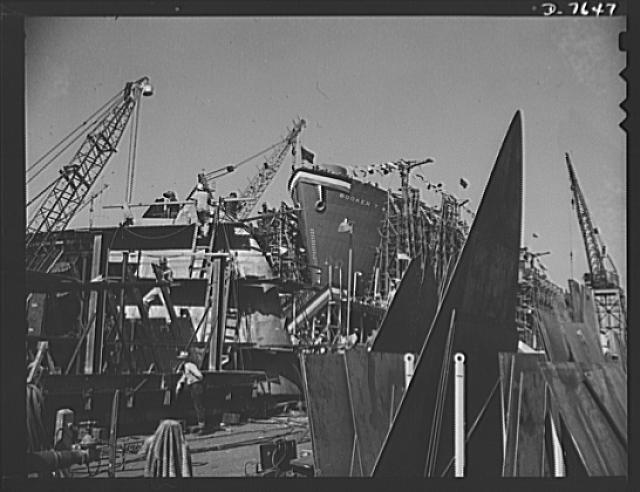 Production. Launching of the SS Booker T. Washington. First Liberty Ship named for a Negro, the SS Booker T. Washington is shown at the California Shipbuilding Corporation's yards a short time before it was christened by Marian Anderson, the celebrated contralto. The cargo vessel was placed in command of Captain Hugh Mulzac, a Negro skipper