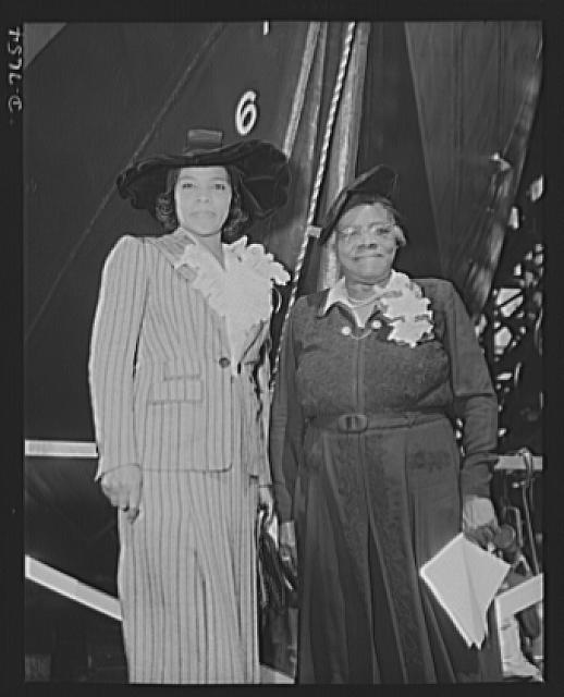 Production. Launching of the SS Booker T. Washington. Marian Anderson, celebrated contralto, and Mrs. Mary McLeod Bethune, Director of Negro Affairs, National Youth Administration (NYA), at the launching of the SS Booker T. Washington, first Liberty Ship named for a Negro, at the California Shipbuilding Corporation's yards