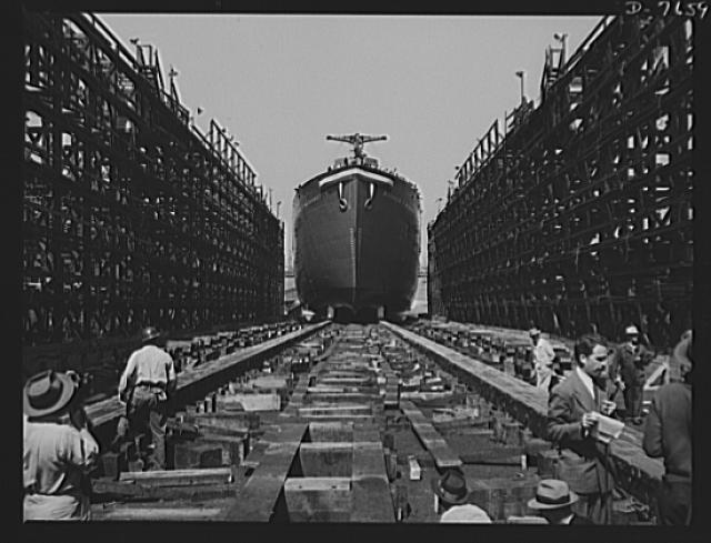 Production. Launching of the SS Booker T. Washington. The SS Booker T Washington, first Liberty Ship named for a Negro slides down the ways at the Wilmington yards of the California Shipbuilding Corporation at its launching on September 29, 1942