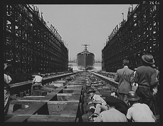 Production. Launching of the SS Booker T. Washington. The SS Booker T Washington, first Liberty Ship named for a Negro, enters the water after  being launched at the Wilmington, California, yards of the California Shipbuilding Corporation on September 29, 1942