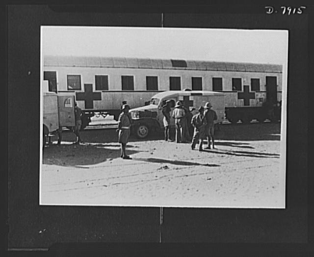 Hospital units at work. American Field Service Units at work somewhere in the African Desert