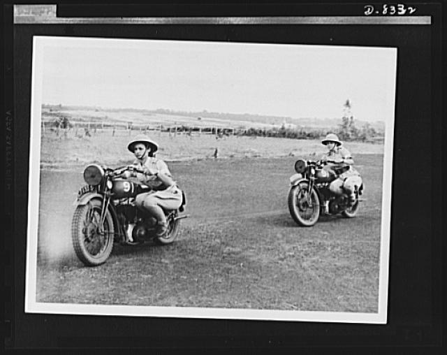 "British women dispatch riders. South African girls who went to England to join the ""First Aid Nursing Yeomanry"" learn stunt riding to give them balance and confidence in handling their machines. They are members of a dispatch riding section"