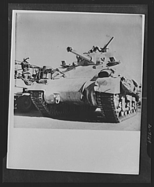 8th Army in Tripoli. Uncomfortably closeup shot of a British 8th Army tank used in the Tripoli campaign