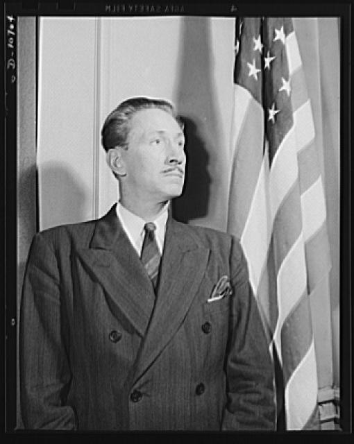 Earl Schenck, naval consultant, speaking before labor-management committee members at Hazleton, July 30th