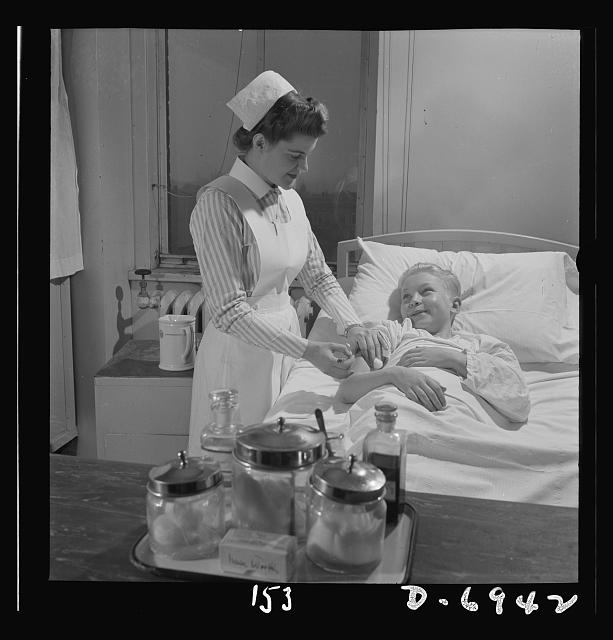Nurse training. Student nurses, like Susan Petty of Lebanon, Pennsylvania, are rendering their country a great service by making it possible for experienced nurses to join the Army or Navy Nurse Corps. Relieved of such civilian duties as administering injections to patients like this smiling youngster, graduate nurses are tending America's fighting men in distant parts of the world