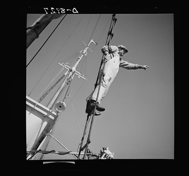 Victory food from American waters. A lookout climbs the cables high above Old Glory's deck to check on location of other trawlers. When one trawler strikes good fishing ground the captain notifies other boats in the fleet