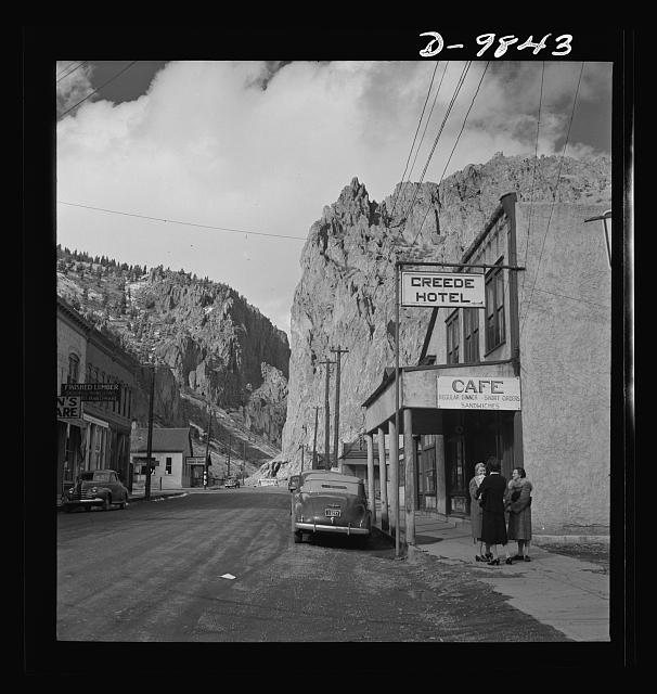 "Production. Lead. Main street of Creede, Colorado. Creede, for many years a ""ghost town,"" has resumed the activities that made it an important lead-producing center years ago, and is now producing much metal vitally needed for the war effort"