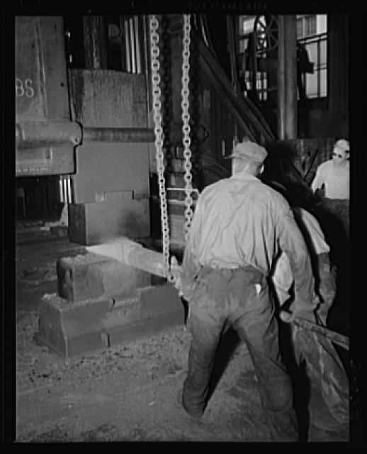 Small part for a big gun. Forging part of a large gun in an eastern Navy yard. This is one of eleven arsenals which have stepped up production to top speed for the war program