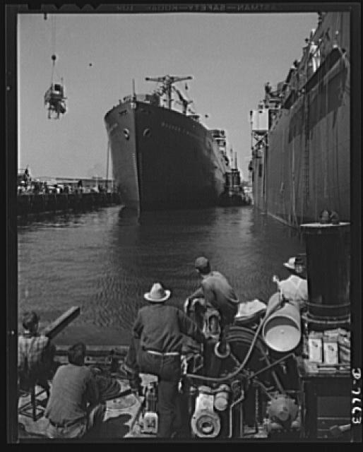 Production. Launching of the SS Booker T. Washington. The SS Booker T. Washington, first Liberty Ship named for a Negro is shown at the fitting-out pier a short time after it was launched at the California Shipbuilding Corporation's yards. Marian Anderson, celebrated contralto, christened the ship which was named for the noted Negro educator