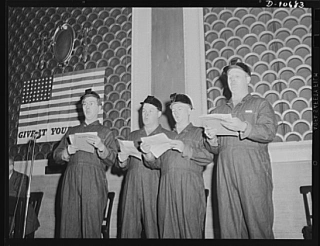 The miners' quartet singing mine songs before labor-management committee members at Scranton, July 29th