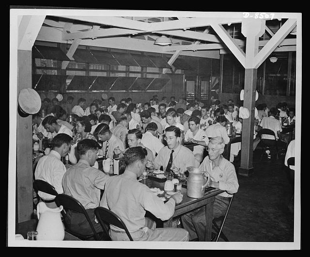 View showing part of one of the three large cafeterias in the yard to accomodate the numerous civil service workers