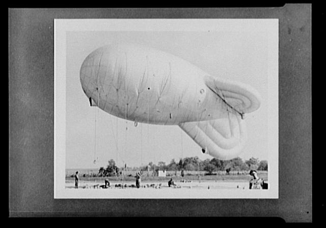 British barrage ballons. Type of British barrage ballons sent to this country under the lend-lease program. They are being used at Camp Tyson, Tennessee, for training purposes