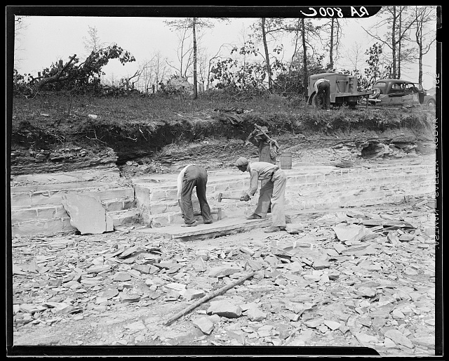 Rock quarry used in construction of Cumberland Homesteads. Crossville, Tennessee